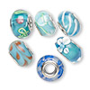 Bead, Dione®, lampworked glass and imitation rhodium-finished brass grommets, transparent blue and opaque multicolored, 12x8mm-16x9mm rondelle with assorted designs, 4.5-5mm hole. Sold per pkg of 6.