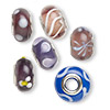 Bead, Dione®, lampworked glass and imitation rhodium-finished brass grommets, transparent purple and opaque multicolored, 12x8mm-16x9mm rondelle with assorted designs, 4.5-5mm hole. Sold per pkg of 6.