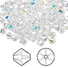 Bead, Swarovski crystal, Crystal Passions®, crystal AB, 4mm Xilion bicone (5328). Sold per pkg of 144 (1 gross).