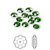 Bead, Swarovski crystal, Crystal Passions®, dark moss green, 6x2mm faceted marguerite lochrose flower (3700). Sold per pkg of 12.
