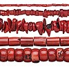 Bead mix, bamboo coral (dyed), red, 4x3mm-28x14mm mixed shape, Mohs hardness 3-1/2 to 4. Sold per pkg of (5) 15-inch strands.