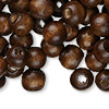 Bead, wood (dyed / coated), dark brown, 10x9mm hand-cut rondelle. Sold per pkg of 500.