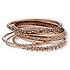 Bracelet, bangle, antiqued copper-finished steel, 2-10mm wide, 2-1/2 inch inside diameter. Sold per 7-piece set.