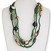 Necklace, 3-strand, wood and coco shell with imitation rhodium-plated brass and sheer organza ribbon, green / gold / brown, 37 inches with 2-inch extender chain and lobster-claw clasp. Sold individually.