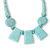Necklace, magnesite (dyed / stabilized), cotton and acrylic, blue and brown, 26-30mm flat rounds and 40x30mm trapezoids, 18 inches. Sold individually.