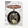 "Pendant, Blue Moon Beads®, antiqued brass-finished ""pewter"" (zinc-based alloy), 54mm flat round with horse design. Sold individually."
