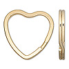 Split ring, gold-finished steel, 32x31mm flat heart. Sold per pkg of 100.