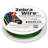 Wire, Zebra Wire™, color-coated copper, green, round, 22 gauge. Sold per 15-yard spool.